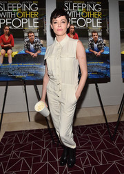 Rose McGowan kept it relaxed in a cream-colored jumpsuit during the screening of 'Sleeping with Other People.'