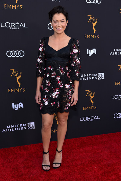 Tatiana Maslany Lace Dress [red carpet,clothing,dress,carpet,fashion model,premiere,cocktail dress,shoulder,fashion,footwear,arrivals,performers,performers - arrivals,tatiana maslany,wallis annenberg center for the performing arts,beverly hills,california,television academy honors emmy]