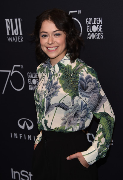 Tatiana Maslany Print Blouse [photo,clothing,hairstyle,premiere,fashion,smile,camouflage,carpet,black hair,dress,brown hair,tatiana maslany,chris delmas,catch la,west hollywood,hollywood foreign press association,instyle,golden globe awards,celebration,season]