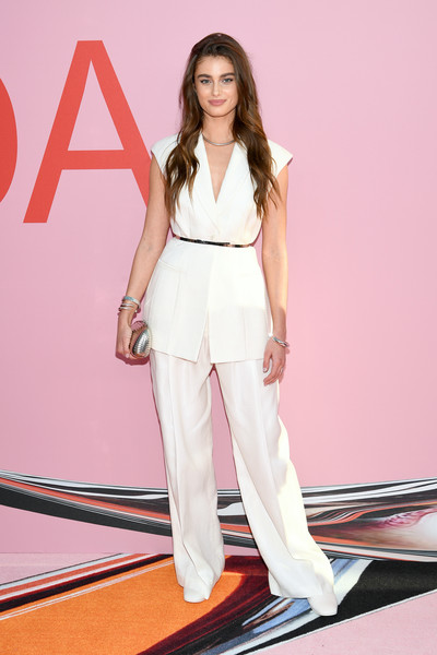 Taylor Hill Pantsuit [clothing,white,fashion model,fashion,beauty,leg,pink,footwear,carpet,shoulder,arrivals,cfda fashion awards,brooklyn museum of art,new york city,taylor hill]