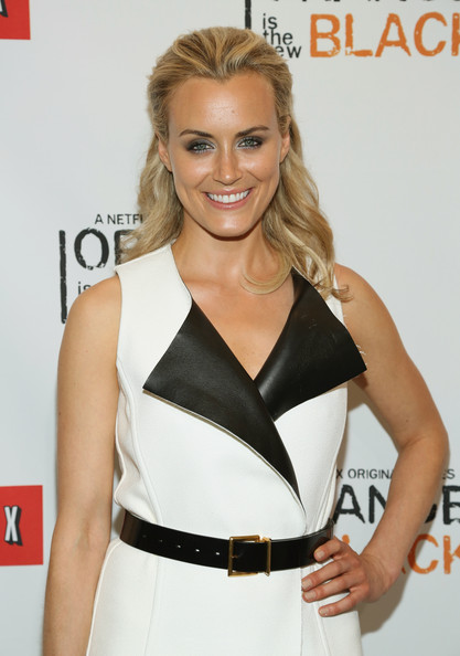 Taylor Schilling Leather Belt [orange is the new black,clothing,shoulder,hairstyle,beauty,cocktail dress,waist,blond,carpet,dress,neck,taylor schilling,new york city,the new york botanical garden,new york premiere]