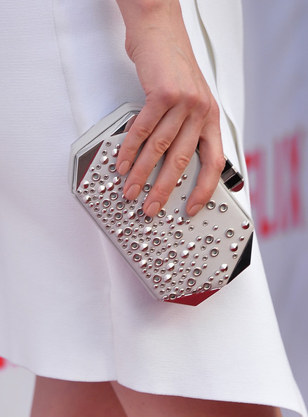Taylor Schilling Studded Clutch [red carpet,white,fashion,red,nail,beauty,dress,pink,haute couture,handbag,street fashion,taylor schilling,purse detail,north hollywood,california,leonard h. goldenson theatre,netflix,academy panel ``women ruling tv,academy panel women ruling tv]
