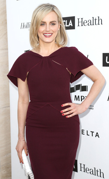 Taylor Schilling Red Nail Polish [mptf reel stories,clothing,dress,cocktail dress,shoulder,hairstyle,blond,neck,sheath dress,premiere,little black dress,taylor schilling,california,los angeles,milk studios,real lives event]