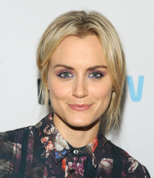 Taylor Schilling Messy Updo [laverne cox presents: the t word,hair,eyebrow,blond,hairstyle,human hair color,chin,forehead,layered hair,cheek,long hair,logo,taylor schilling,viacom building,new york city,paramount screening room,tv premiere party screening]