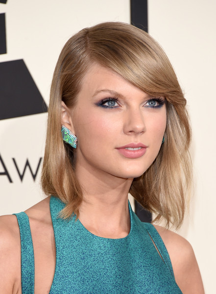 Taylor Swift Gemstone Studs [hair,face,hairstyle,blond,turquoise,beauty,eyebrow,chin,bangs,brown hair,arrivals,taylor swift,grammy awards,staples center,los angeles,california,the 57th annual grammy awards]