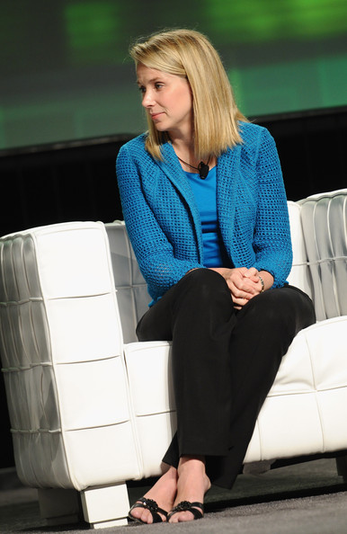 Marissa Mayer looked very refined in a blue open-weave blazer and black slacks during TechCrunch Disrupt SF 2011.