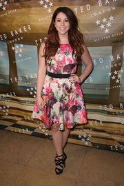 Jillian Rose Reed got majorly girly in a Ted Baker fit-and-flare dress with a loud floral print for the brand's SS'16 launch event.