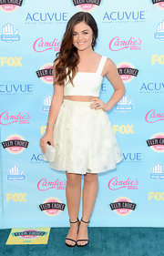 Lucy opted for a soft mint green crop top and matching pleated skirt for the 2013 Teen Choice Awards.