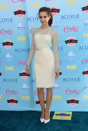 Troian looked like a retro romantic in this mint green long-sleeve lace dress.