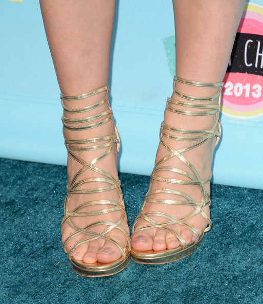 Leven Ramblin's golden sandals had a cool gladiator feel to them that we just loved.