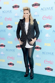 Demi went rocker-chic with a black brocade jacket at the 2013 Teen Choice Awards.