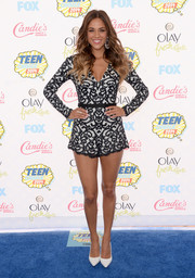 Jana Kramer proved a romper could be elegant when she wore this long-sleeve black-and-white lace number to the Teen Choice Awards.