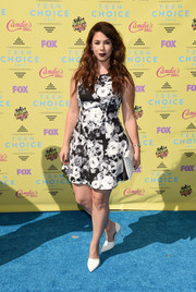 Jillian Rose Reed hovered between sweet and goth in a black-and-white floral mini dress by Shilla during the Teen Choice Awards.
