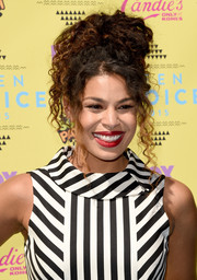 Jordin Sparks wore her curls piled high on her head when she attended the Teen Choice Awards.