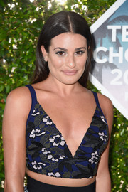 Lea Michele flashed her abs and cleavage in a plunging, floral-embroidered crop-top by Self-Portrait at the Teen Choice Awards 2016.