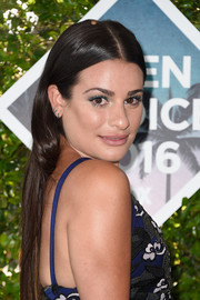 Lea Michele swiped on some blue eyeshadow to match her outfit.
