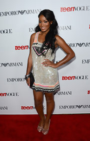 Keke sparkled in her sequined shift dress at the Young Hollywood Party.