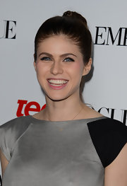 Alexandra Daddario was all smiles at the Young Hollywood Party in a braided bun.
