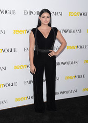 Ariel Winter worked a plunging black velvet jumpsuit with harness detailing at the Teen Vogue Young Hollywood Issue party.
