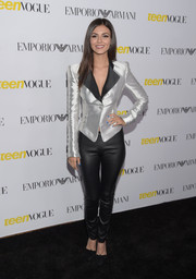 Victoria Justice cut a strong silhouette in this bold-shouldered, slim-waisted jacket by Armani at the Teen Vogue Young Hollywood Issue party.