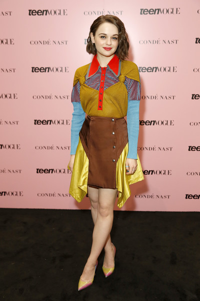 Joey King cut a colorful figure in this paneled knit top by Kiko Kostadinov at the 2019 Teen Vogue Summit.