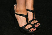 Francesca Eastwood wore a pair of elegant black T-strap sandals to the Teen Vogue Young Hollywood party.