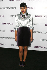 Natalia Kills paired a silver silk button-down with a purple velvet skirt for the Teen Vogue Young Hollywood party.