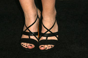 Sophie Simmons went to the Teen Vogue Young Hollywood party wearing sexy black cross-strap sandals.