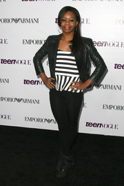 Gabrielle Douglas looked smart and edgy in a black leather jacket layered over a striped shirt at the Teen Vogue Young Hollywood party.