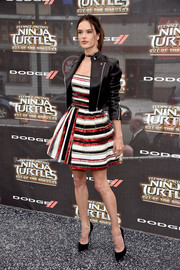 Alessandra Ambrosio toughened up her flirty beaded dress with a black leather jacket by Alexander Wang for the world premiere of 'Teenage Mutant Ninja Turtles: Out of the Shadows.'