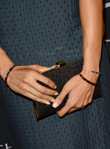 Tehmina Sunny Frame Clutch [tv tea 2013,nail,wrist,hand,finger,little black dress,material property,leather,fashion accessory,jewellery,gesture,arrivals,tehmina sunny,hadnbag detail,bafta la,sls hotel,california,beverly hills,audi,bbc america]