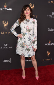 Kathryn Hahn looked very ladylike in a white Monique Lhuillier lace dress with colorful floral embellishments at the Television Academy's performers peer group celebration.