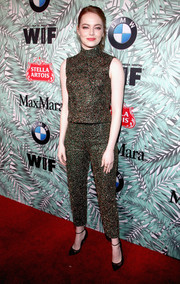 Emma Stone went matchy-matchy with this glittery Prada pants and top combo.