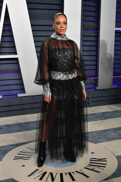 Tessa Thompson Ankle Boots [oscar party,vanity fair,fashion,clothing,fashion design,haute couture,dress,fashion show,formal wear,costume,fashion model,style,beverly hills,california,wallis annenberg center for the performing arts,radhika jones - arrivals,radhika jones,tessa thompson]