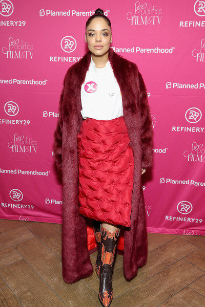 Tessa Thompson Pencil Skirt [film,clothing,pink,fashion,fur,magenta,fashion show,fashion design,outerwear,footwear,textile,tessa thompson,actor,o.p.,refinery29 host sex,politics,parenthood federation of america,planned parenthood association of utah,tv reception,film tv reception]