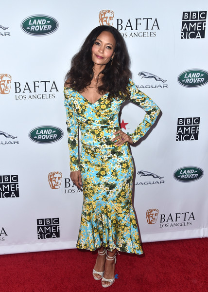 Thandie Newton Print Dress [flooring,fashion model,carpet,shoulder,fashion,red carpet,long hair,fashion design,cocktail dress,arrivals,thandie newton,tea party,los angeles,beverly hills,california,the beverly hilton hotel,bafta,bbc,america tv]