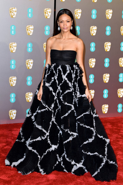 Thandie Newton Strapless Dress [dress,clothing,carpet,red carpet,gown,strapless dress,flooring,fashion model,fashion,lady,red carpet arrivals,thandie newton,ee,london,england,royal albert hall,british academy film awards]