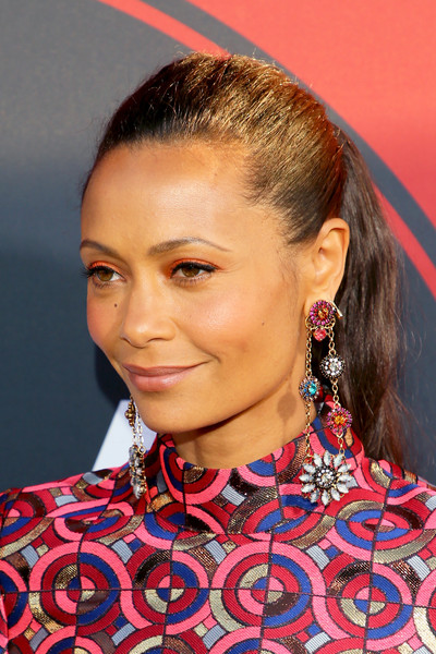Thandie Newton Ponytail [westworld,season,hair,hairstyle,eyebrow,beauty,fashion,chin,lip,necklace,neck,choker,arrivals,thandie newton,jewelry detail,california,los angeles,hbo,premiere,premiere]