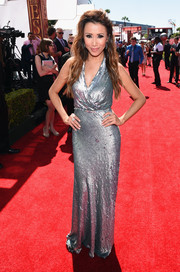 Michelle Marie shimmered on the ESPYs red carpet in a fully sequined wrap-style gown.