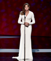 Caitlyn Jenner looked every inch the star of the show in her ruched white Atelier Versace gown during the ESPYs.