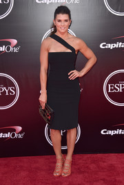 Danica Patrick styled her LBD with chic coral lace-up heels.