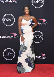 Gabrielle Douglas kept it fun and sexy in a spaghetti-strap patchwork gown at the 2017 ESPYs.