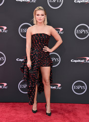 Olivia Holt donned a Redemption strapless mini dress with draped fabric detailing for the 2018 ESPYS.