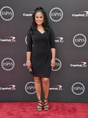 Laila Ali paired her LBD with black multi-strap sandals.