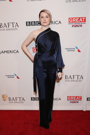 Evan Rachel Wood was pajama-glam in a navy silk one-shoulder jumpsuit by Jonathan Simkhai at the BAFTA tea party.