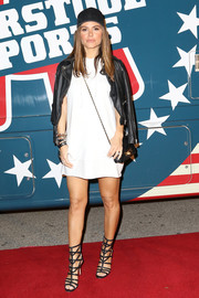 Maria Menounos styled her LWD with a black leather biker jacket.