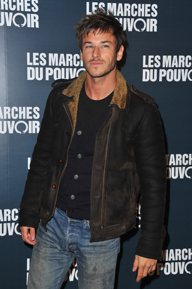 Gaspard Ulliel arrived at the Paris Premiere of 'The Descendents' in a modified, ultra hip bomber jacket.