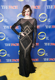 Coco Rocha channeled a sultry '20s star in this black Art Deco evening dress.