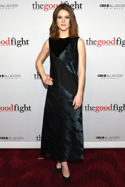 Rose Leslie kept it minimal in a dark-teal and black A-line gown at the world premiere of 'The Good Fight.'