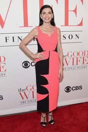 Julianna Margulies chose a pink and black geometric-print dress by Antonio Berardi for the 'Good Wife' finale party.